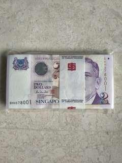 A STACK 100 PCS SINGAPORE $2 PORTRAIT BCCS HTT 0HH578001-100 RUN UNC