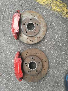 Brake caliper 4 pot with disc rotor fit for all car new brake pads....