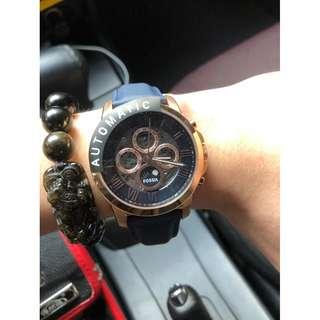 【負法律責任】基隆大錶哥Fossil ME3029頂級機械真牛皮腕錶 玫瑰金 44mm男錶女錶