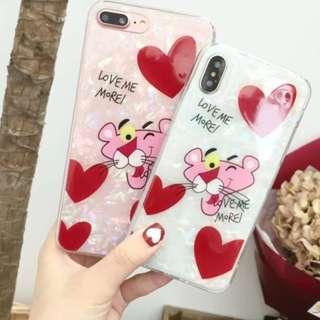 手機殼IPhone6/7/8/plus/X : 愛心粉傻豹貝殼紋全包邊軟殼