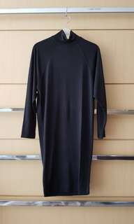 FRENCH CONNECTION Black Knit Long-sleeved Dress