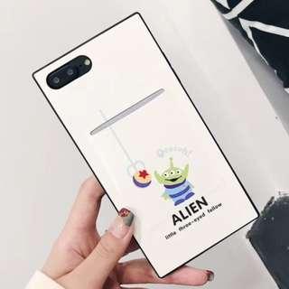 手機殼IPhone6/7/8/plus/X : 白底三眼仔配插口袋全包黑邊皮質軟殼