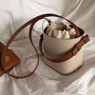 B171🌸3色*清新拼接帆布束口水桶包
