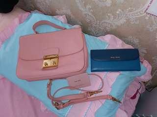 miu miu 粉紅手袋+銀包