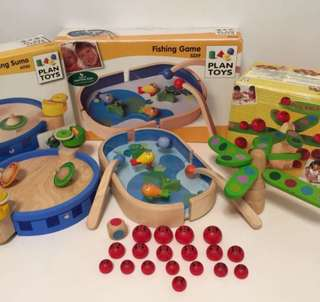 Plan Toys x 3 - Bumping Sumo, Fishing Game and Bug Balancing