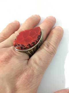 Vintage Designer Fashion Ring - Red Coral Gemstone