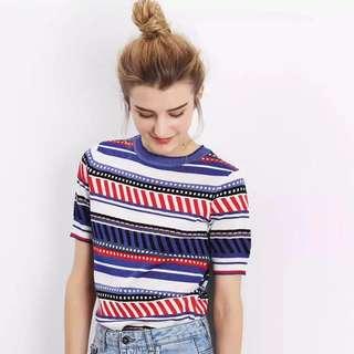 🚚 OshareGirl 06 歐美女士條紋針織衫短袖上衣