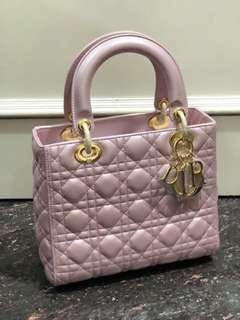 SALE! Lady dior pink lambskin 23cm mirror replica bag