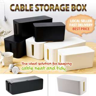 CABLE ORGANISER TYPE A S M L WHITE BLACK STORAGE BOXES