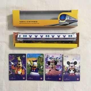 絕版限量2005地鐵迪士尼綫列車模型及紀念車票一套