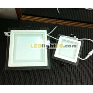 12W LED Glass Panel Downlight warranty 1 year Taiwan Chip and Driver ( Square White )