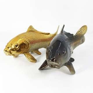 Japanese Cast Iron Carp Fish Statue Koi Okimono (GPK_01-1017-98)