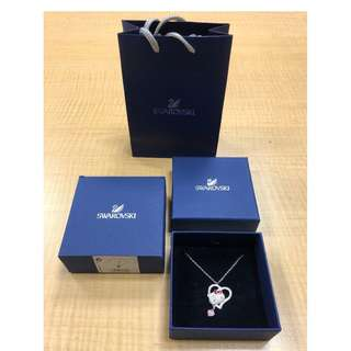 Swarovski Hello Kitty Silver Necklace with Crystal Love Pendant 42 cm Authentic! NEW!