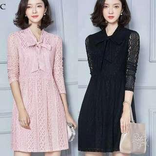 🍃Ribbon Tie Elegant Lace Dress