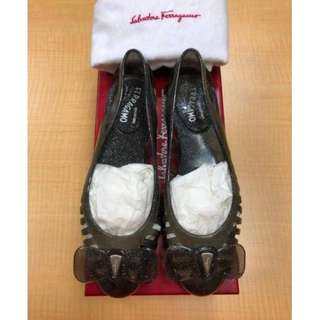 Salvatore Ferragamo RRP $395 Black Grey Spiffy Jelly Flats Shoes AU 5 EUR 35 Authentic!