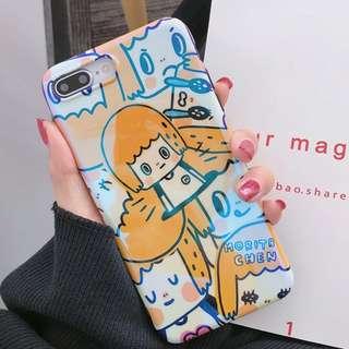 #手機殼IPhone6/7/8/plus/X : 可愛日系卡通女生藍光全包黑邊軟殼
