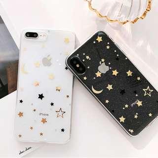 #手機殼IPhone6/7/8/plus/X : 時尚閃粉星星全包邊透明軟殼
