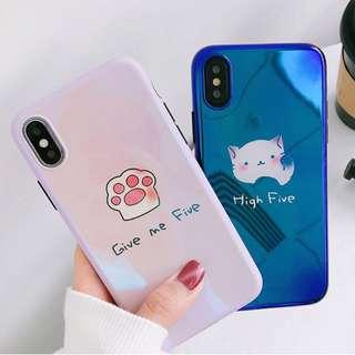 #手機殼IPhone6/7/8/plus/X : 可愛貓咪55藍光全包黑邊軟殼