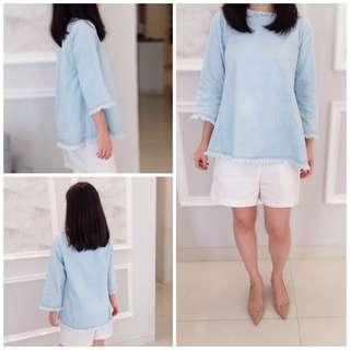 Denim loose fit blouse