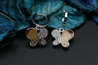 Navia Jewelry Real Butterfly Wing Diaethria clymena Silver Earrings Korea