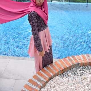 REDUCED FV: Ayana Peplum Kurung in Grey and Pink
