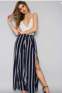 White top blue stripes loose Pants terno