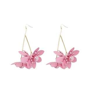 韓國清新花瓣長款顯瘦臉耳環