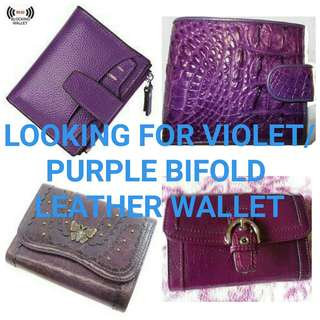 LOOKING FOR VIOLET/PURPLE BIFOLD LEATHER WALLET