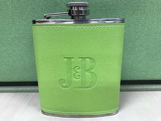 Whisky/Wine Flask in leather finish (Lime Green)