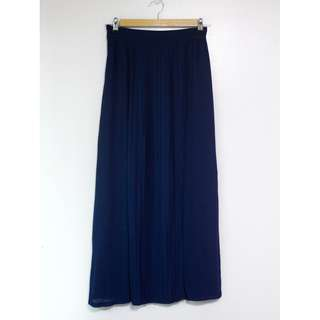 Free SF Navy Blue Maxi Skirt with Front Slits