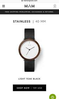 MAM Originals Light Teak Black Stainless Watch