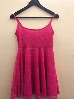 F21 Fuschia Pink Lace Dress