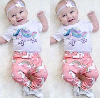 2pcs Baby Girls Romper Set Unicorn Pink 0-18mo