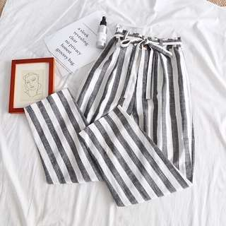 [PO] Grey Vertical Stripes Casual Pants