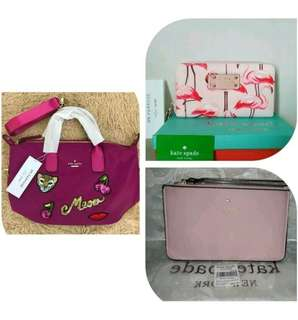 BNWT AUTHENTIC KATE SPADE WRISTLET AND KATE SPADE TOTE AND WALLET OVERRUNS