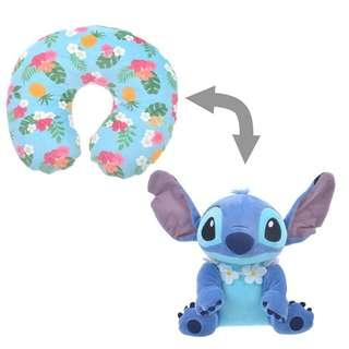 日本 Disney Store 直送 Stitch Day 系列 Stitch 史迪仔 2 用 U 形頸枕連公仔