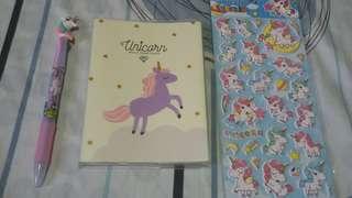 Unicorn mini notebook and other unicorn stuffs