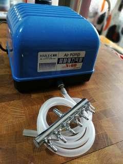 海利魚缸氣泵V60 連金屬一開六分氣頭