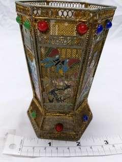 古舊四吋銅網筆座鑲嵌長城,美女等圖畫,收藏佳品