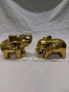 一對六吋銅 大象