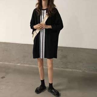 夏季韓國學生黑白撞色簡約時尚寬松BF中長款短袖T恤女港味休閒裙