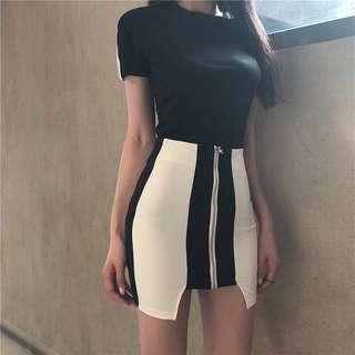套裝💕 港味夏季新款黑白撞色設計感不對稱包臀半身短裙+修身短袖T恤套裝