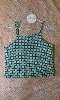 Green sleeveless croptop