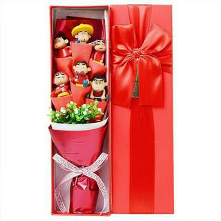 *FREE DELIVERY to WM only / Ready stock, special edition* Sin Chan 6pcs bouquet design set each box 34*10*6cm as shown in design/color. Free delivery is applied for this item.
