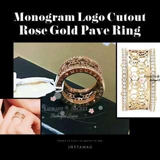 Michael Kors Rose Gold Tone Monogram Logo Cutout Pave Ring BNWT全新帶吊牌玫瑰金通花圖騰戒指斷碼清貨特價
