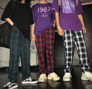 Vintage Checkered Straight Cut Long Pants
