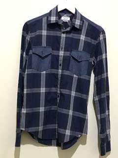 Original Like New Zara Man Blue Jeans Tartan Shirt