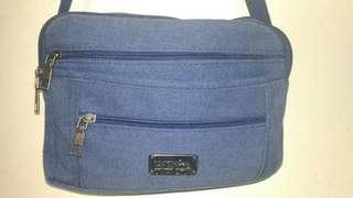 Blue navy blue gold zipper sling body bag #garagesale4
