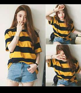 korean shirt stripe tops women tshirt