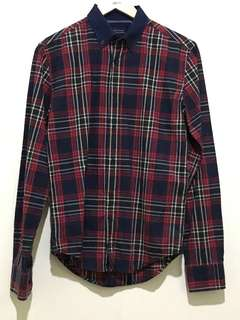 Original Zara Man Red Tartan Shirt